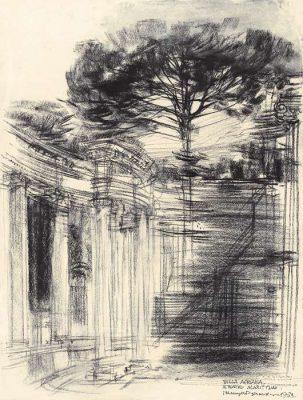Grafika przedstawiająca Villę Adriana w Rzymie