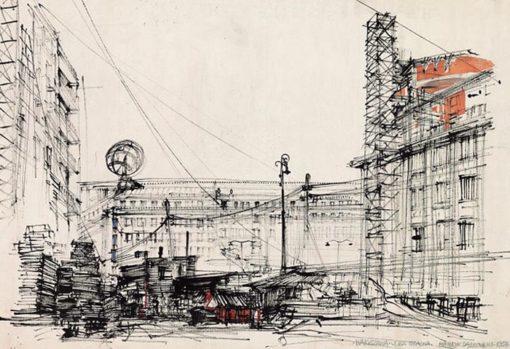 Grafika przedstawiająca widok ulicę Bracką w Warszawie