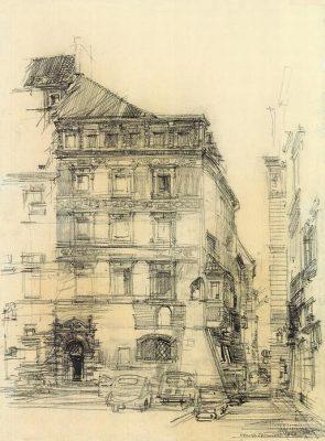 Grafika przedstawiająca Kamienicę pod św. Anną – na rogu Rynku Starego Miasta i ul. Wąski Dunaj w Warszawie