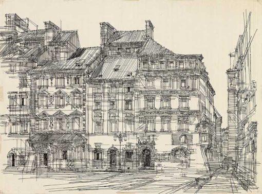 Grafika przedstawiająca rynek Starego Miasta w Warszawie