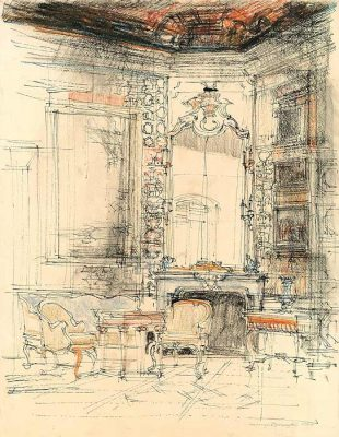 Grafika przedstawiająca wnętrze pałacu w Wilanowie w Warszawie