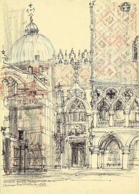 Grafika przedstawiająca Palazzo Ducale w Wenecji