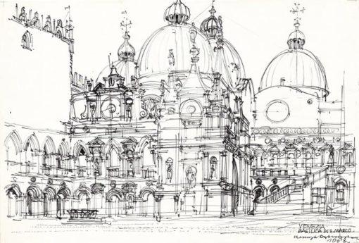 Grafika przedstawiająca Bazylikę Św. Marka w Wenecji