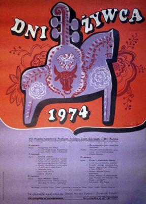 Oryginalny polski plakat zapowiadający dni miasta Żywiec w 1974 roku. Projekt plakatu: JERZY NAPIERACZ