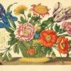 Grafika z koszem kwiatów wykonana w technice druku barwnego na podstawie miedziorytu Marii Sibylli Merian z przełomu XVII i XVIII wieku