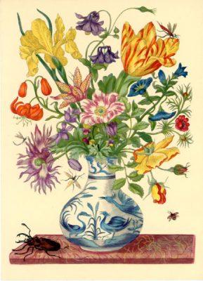 Grafika z bukietem polnych kwiatów w wazonie wykonana w technice druku barwnego na podstawie miedziorytu Marii Sibylli Merian z przełomu XVII i XVIII wieku
