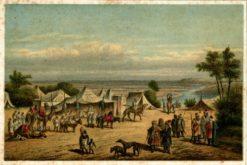 Grafika (litografia barwna) przedstawiająca obóz arabski pochodzi z II poł. XIX wieku. Tytuł oryginalny: Lager der Auelimmiden