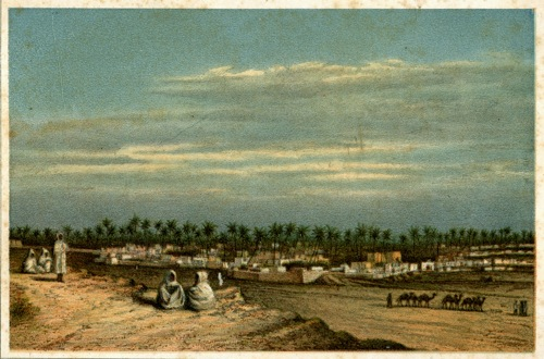 Grafika (litografia barwna) z panoramą miasta arabskiego wykonana w II połowie XIX wieku.