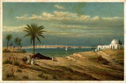 Grafika przedstawiająca miasto Trypolis w Libii wraz z widokiem na Morze Śródziemne. Litografia