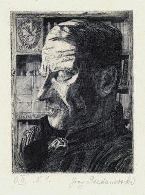 Grafika (akwaforta) z portretem profesora UJ pochodzi z połowy XXwieku. Sygn. w prawym dolnym rogu Jerzy Pazdanowski.