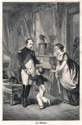 """Niemiecka grafika """"Der Abschied"""" przedstawia Napoleona żegnającego się z Józefiną i synem. Oryginalny drzeworyt sygnowany: Hussenot"""