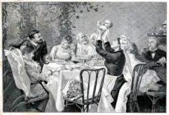 Drzeworyt sztorcowy z przełomu XIX i XX w.według obrazu francuskiego malarza Henri Brispot: Syn pierworodny.