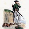 Oryginalna ręcznie kolorowana grafika francuska