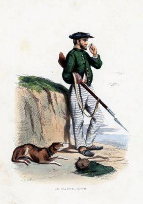 """Oryginalna ręcznie kolorowana grafika francuska """"Le garde-cote"""" przedstawia strażnika ochrony wybrzeża"""