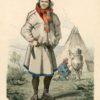Oryginalna ręcznie kolorowana grafika z Lapończykiem w stroju ludowym