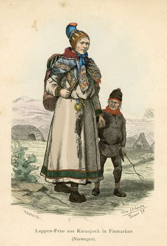 Oryginalna ręcznie kolorowana grafika z Laponką w stroju ludowym