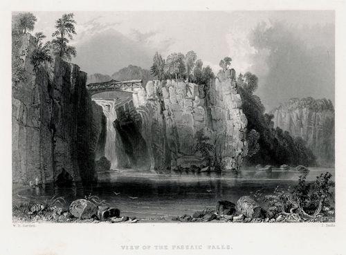 Staloryt z wodospadem na rzece Passaic wykonany w 1839 roku przez artystów: W.H. Barlett