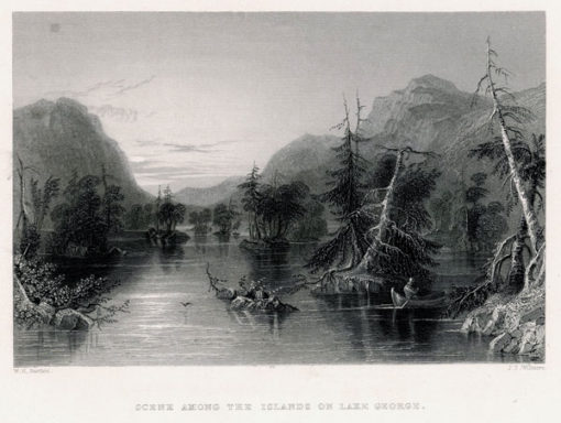 Staloryt z jeziorem George Lake wykonany w 1839 roku przez artystów: J. T. Willmore