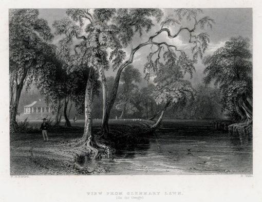 Pejzaż z rzeką wykonany w technice stalorytu w 1839 roku przez artystów: W.H. Barlett