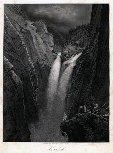 Grafika z górskim wodospadem