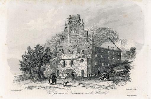 Akwaforta z lat 30-tych XIX w. przedstawiająca ruiny kościoła w Kazimierzu nad Wisłą.