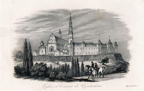 Akwaforta z lat 30-tych XIX wieku przedstawiająca klasztor i kościół w Częstochowie.