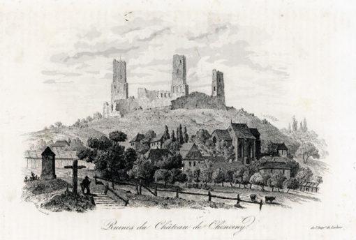 Akwaforta z lat 40-tych XIX w. przedstawiająca ruiny zamku w Chęcinach wykonana przez rysownika i grafika francuskiego Alès