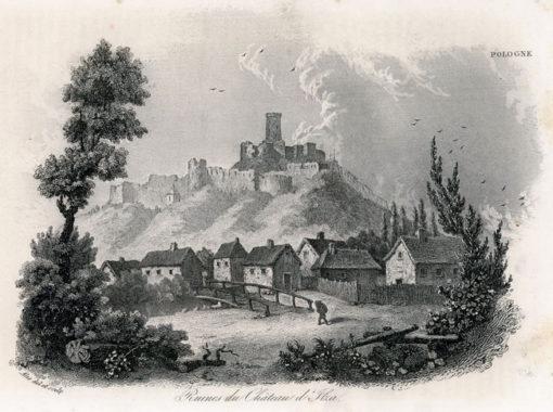 Akwaforta z lat 30-tych XIX w. przedstawiająca ruiny zamku w Iłży wykonana przez rysownika i grafika francuskiego Alès.