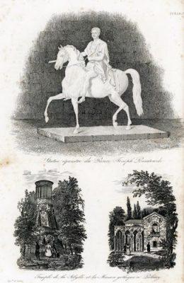 Francuska akwaforta z lat 30-tych XIX w. przedstawiająca posąg konny Poniatowskiego i elementy architektoniczne parku w Puławach.