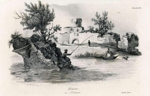 Akwaforta z lat 30-tych XIX w. przedstawiająca ruiny zamku w Kownie wykonana przez rysownika i grafika francuskiego Alès