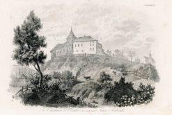 Akwaforta przedstawiająca zamek w Olesku