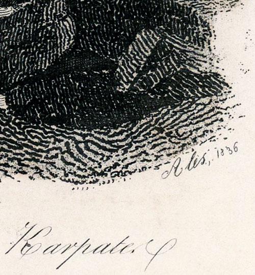 przedstawiająca wodospad w górach Karpatach (Pasieczno). sygn. Alès 1836.