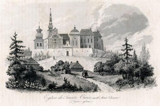 Francuska akwaforta z lat 30 XIX wieku z widokiem kościół św. Krzyża na Łysej Górze. Sygn: Alès.