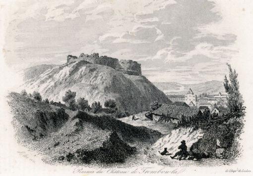 Akwaforta z 1836r. przedstawiająca ruiny zamku w Trembowli