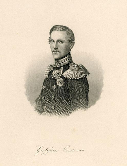 Grafika wykonana w technice stalorytu przedstawiająca popiersie dowódcy regimentu kirasjerów w Prusach Wschodnich w latach 1813-31: Constantina. Grafika pochodzi z I połowy XIX wieku.