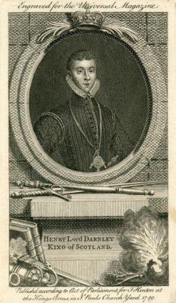 Oryginalny miedzioryt z 1749 roku przedstawiający portret króla Szkocji Henryka Stuarta - lorda Darnleya wykonana dla Universal Magazine