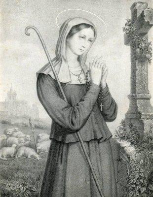 Litografia z lat 1830-40 przedstawiająca kobietę z różańcem - świętą Germanę - pasterkę