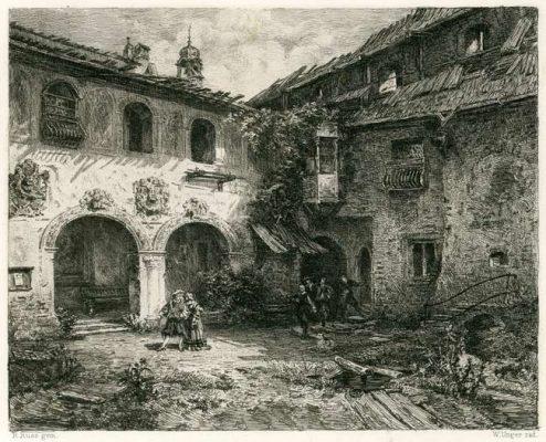 Akwaforta wykonana w II połowie XIX wieku przedstawiająca zabudowania Furstenburg koło Burgeis. Grafika wykonana przez rytownika W. Unger wg obrazu R. Russ'a