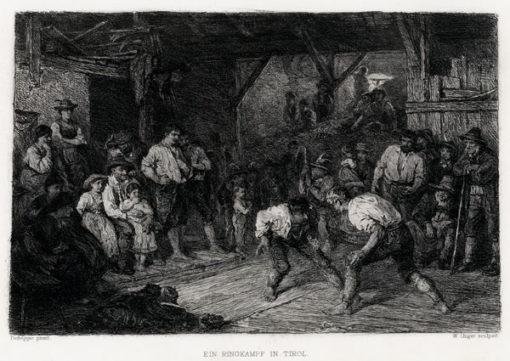 Akwaforta przedstawiająca scenę bójki wykonana przez W. Ungera wg rysunku Defreggera w II połowie XIX wieku.