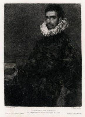 Niemiecka akwaforta przedstawiająca portret szlachcica z Wenecji