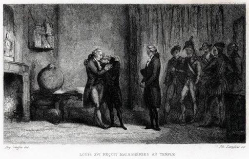 Francuska grafika przedstawiająca scenę przyjęcia doradcy i cenzora królewskiego - Malesherba. Rycina wykonana w technice stalorytu około połowy XIX wieku.