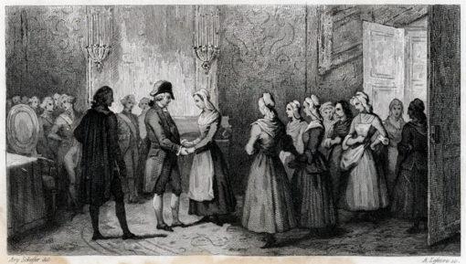 Francuska grafika przedstawiająca scenę przyjęcia kobiet przez króla. Rycina wykonana w technice stalorytu około połowy XIX wieku.