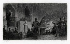 Francuska grafika przedstawiająca scenę z królem przemawiającym do zgromadzonych w sali. Rycina wykonana została w technice stalorytu około połowy XIX wieku.