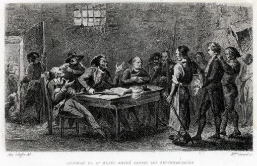 Francuska grafika przedstawiająca scenę z czasów rewolucji francuskiej. Rycina wykonana została w technice stalorytu około połowy XIX wieku.