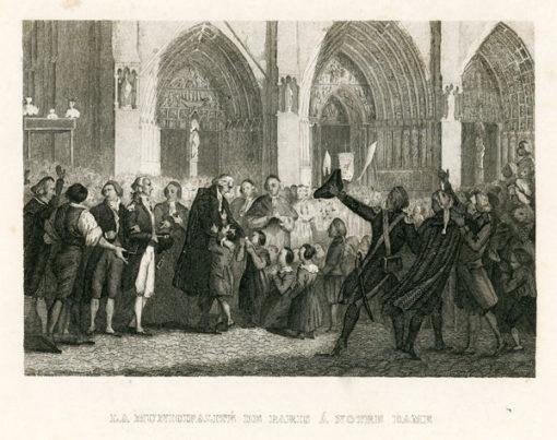 Francuska grafika przedstawiająca mieszkańców Paryża zgromadzonych przed katedrą Notre Dame. Rycina wykonana została w technice stalorytu około połowy XIX wieku.
