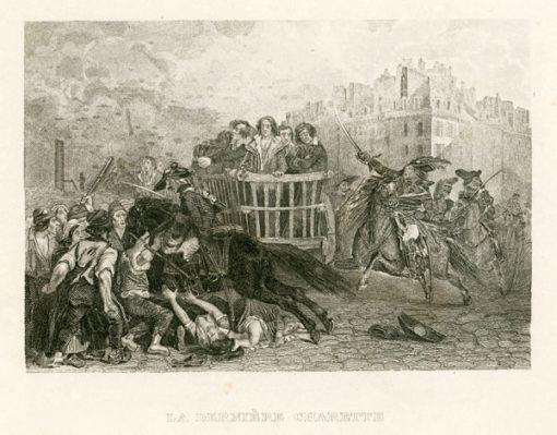 Francuska grafika przedstawiająca wóz z więźniami oraz zamieszki uliczne podczas rewolucji francuskiej w Paryżu. Rycina wykonana została w technice stalorytu około połowy XIX wieku.