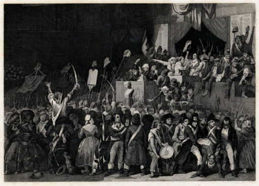 Francuska grafika przedstawiająca Marie Luizę - księżniczkę de Lamballe prowadzoną na śmierć podczas rewolucji francuskiej w Paryżu. Rycina wykonana została w technice miedziorytu około połowy XIX wieku.