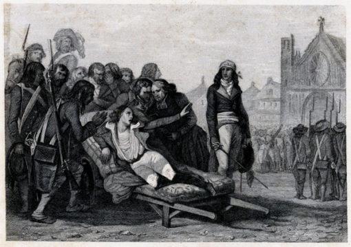 Francuska grafika przedstawiająca śmierć Bonchampa podczas rewolucji francuskiej w Paryżu. Rycina wykonana została w technice miedziorytu około połowy XIX wieku.