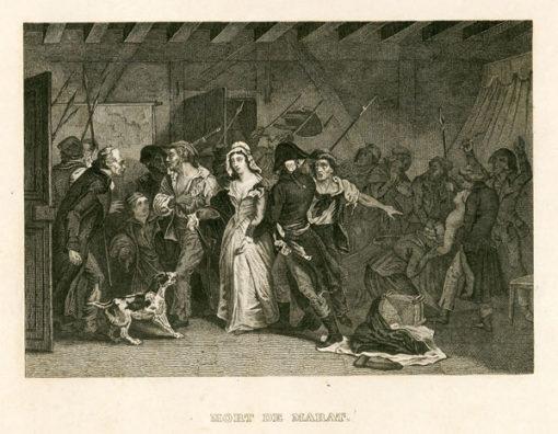 Francuska grafika przedstawiająca śmierć Marata podczas rewolucji francuskiej w Paryżu. Rycina wykonana została w technice miedziorytu około połowy XIX wieku.