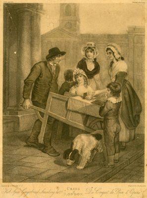 Grafika w technice litografii przedstawiająca londyńskiego sprzedawcę pierników. Wykonana przez rytownika Vendramini w II połowie XIXw wg obrazu F. Whentley'a.